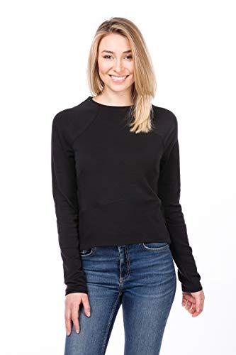 super.natural Super Crop Sweat-Shirt en Laine mérinos pour Femme XS Jet Black