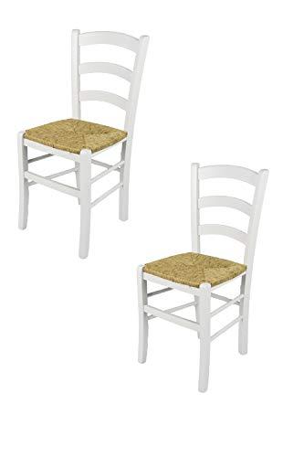Tommychairs - Set 2 sedie modello Venezia per cucina bar e sala da pranzo, robusta struttura in legno di faggio laccata bianco e seduta in paglia