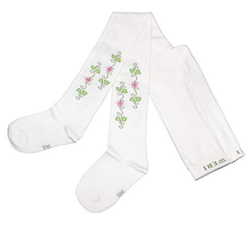 Weri Spezials Baby und Kinderstrumpfhose für Mädchen mit verschiedenen Blumen Motiven in zärtlichen Farben. (134-146, Creme Efeu)