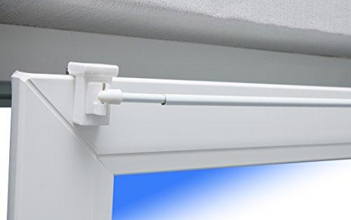 """Gardinenstange""""Miami"""" 80-120cm ausziehbar Vitragenstange + 1 Paar Klemmträger Weiß Universal (Fensterdicke 10-27mm) für oben oder seitlich am Fenster"""