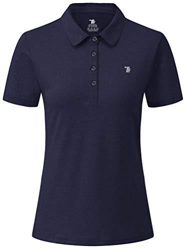 YSENTO Damen Golf Poloshirt Kurzarm Polohemd Schnelltrocknend Atmungsaktiv Sport Tennis Lady-Fit T-Shirts(Marine,L)