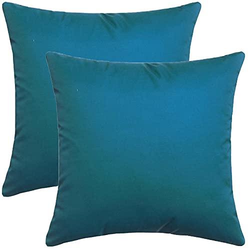 SterneMond Juego de 2 fundas de cojín decorativas resistentes al agua, impresión geométrica exterior, monocolor, para sofá, dormitorio, coche, 60 x 60 cm