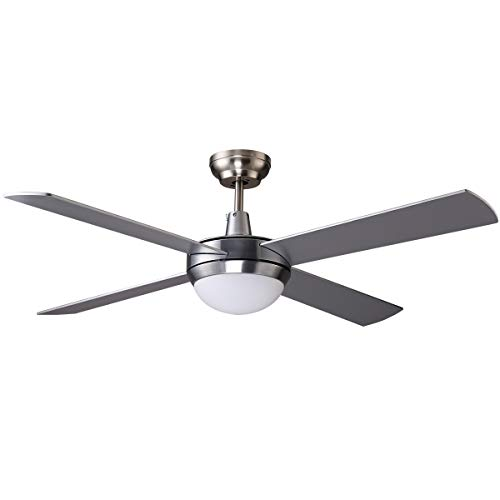 7PANDAS Morden Silver Ceiling Fans with LED Light Kit and Remote, DC Motor 4 Reversible Blades 6 Speed, SAA Certificate - 52' (1320mm)