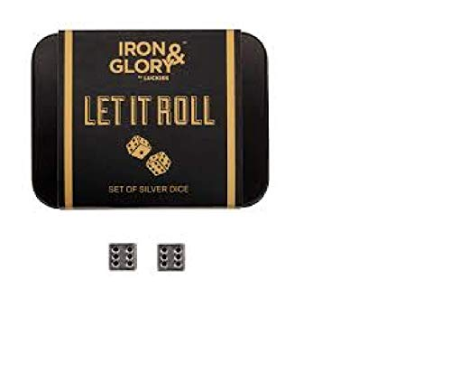 Iron & Glory Set di Dadi - Dadi da Gioco a 6 Facce, in Metallo di Colore Argento e Puntini Neri - Set di Dadi da Gioco con Confezione Regalo in Allumi