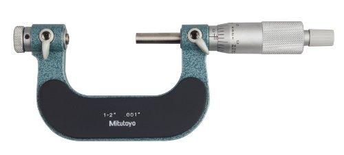 Mitutoyo 126-138 Micrómetro de rosca de tornillo, punta de husillo intercambiable, parada de carraca, rango de 1-2, graduación de 0.001, precisión de +/-0.0002