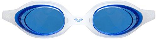 arena Unisex Training Wettkampf Schwimmbrille Spider (UV-Schutz, Anti-Fog Beschichtung, Harte Gläser), Blue-Clear (711), One Size