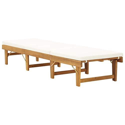 Tidyard Klappbare Sonnenliege Relaxliege 200 x 61 x 30/55,5/70/86 cm MIt Sitzauflage,Gartenliege Liegestuhl Garten Lounge,Rückenlehne 4 verschiedenen Höhen verstellt,Akazie Massivholz