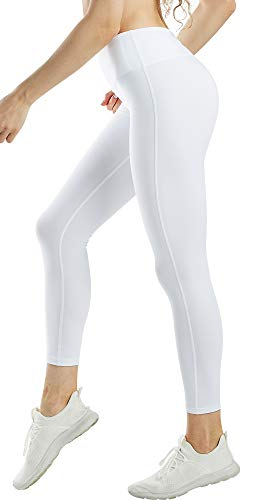 COOLOMG Damen Yoga Lang Hose Kompression Leggings Sport Trainingshose Weiß L