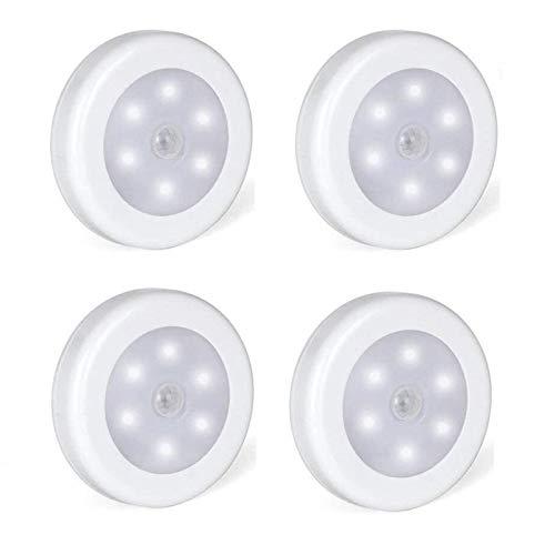 Foonii Pack de 4 Luces LED Sensores de Movimiento Sensor Automático,Luces Nocturnas adecuado para de Escaleras Pasillos Armario Cocina etc,Batería Impulsado[Clase de eficiencia energética A+]