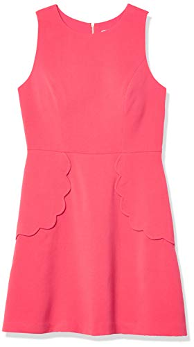Eliza J Women's Fit-and-Flare Dress with Scallop Detail, Pink, 12