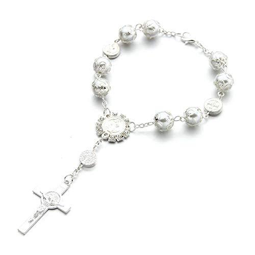 WeiHaoJian Rosenkranz Katholische Armband Saint St.Benedikt Kruzifix Göttliche Barmherzigkeit Geschenk - Weiß
