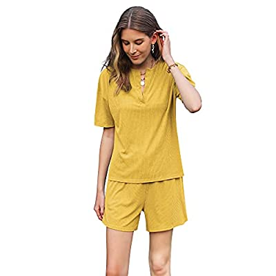 Felstar Women's Casual Pajamas Set Short Sleeve Pullover with Shorts Matching Lounge Wear