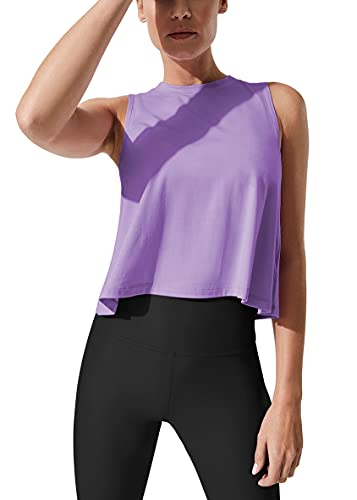 Mippo Cropped Workout Tops for Women Cute Workout Shirts Sleeveless Tops Womens Crop Muscle Tanks Flowy Loose Crop Tops High Neck Tank Tops Purple M