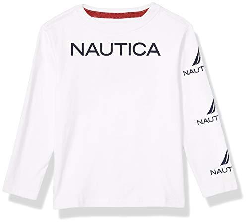 Nautica Playera de Manga Larga con Logotipo gráfico para niños, Blanco, Large (14/16) US