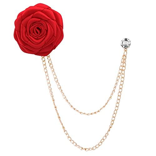 Broches De Tela Art Rose Flower Broche Pin De Solapa Insignia Cadena Accesorios Para Traje De Hombre-Rojo