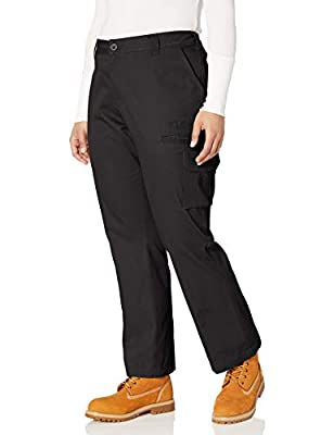Dickies Women's Plus Size Relaxed Cargo Pant, Rinsed Black, 24W Regular