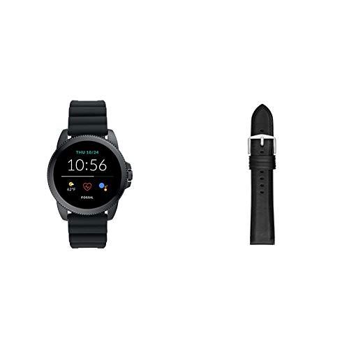 Fossil Connected Smartwatch Gen 5E para Hombre con tecnología Wear OS de Google, frecuencia cardíaca, GPS, NFC y notificaciones smartwatch, Silicona Negro + Correa de Piel Negro y Silicona