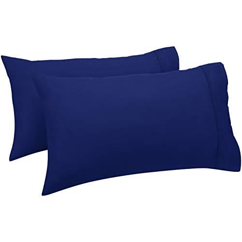 Amazon Basics - Set de 2 fundas de almohada de 400 hilos, 50 x 80 cm - Azul marino