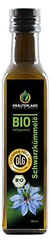 Kräuterland - Bio Schwarzkümmelöl 250ml gefiltert - 100{1a4aa5bc572306cb89889ec94d22aaf069bab9985fcdcbd3534ccd712ad18353} rein, schonend kaltgepresst, ägyptisch, nigella sativa, vegan - Frischegarantie: täglich mühlenfrisch direkt vom Hersteller
