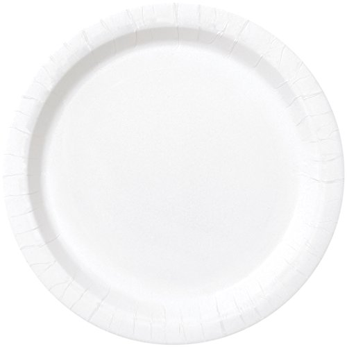 Unique Party 31044 7' Round Dessert Plates | Classic White Color Theme | 20ct, Pack of 20