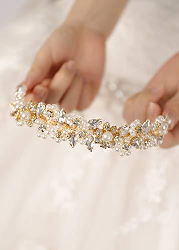 Kercisbeauty Haarreif mit Kristallperlen, Goldkrone für Hochzeit, Brautschmuck, Diadem, Strass, Abschlussball, Party, Damenkopfschmuck