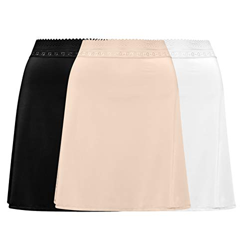 Free to Live 3 Pack Half Slips … (Large, Black, Ivory, Nude)