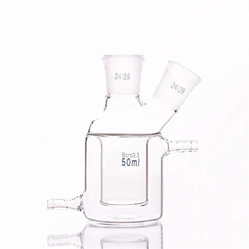 CJIANHUA Frasco de destilación Doble Cubierta cilíndrica de Dos Bocas matraz de Fondo Plano, de la Capacidad de 50 ml, Joint 24/29, Mezzanine con Camisa Botella Reactor (Capacity : 50ml)