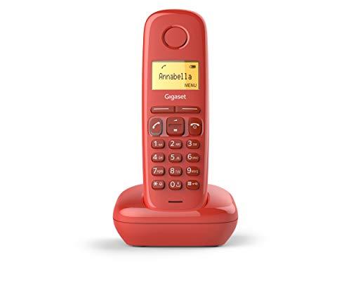 Gigaset A170 - Teléfono Inalámbrico, Pantalla Iluminada, Agenda de 50 Contactos, Color Rojo Coral