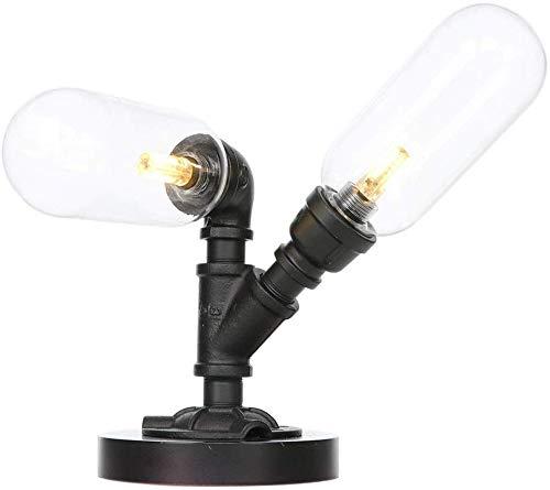 Vintage LED Industriële Waterpijp Tafellamp Licht Metaal Glas Lampenkap Tafelbureau Lamp Lantaarn Armatuur Binnen Thuis Slaapkamer Decoratie Geschenken (Kleur : Amber)