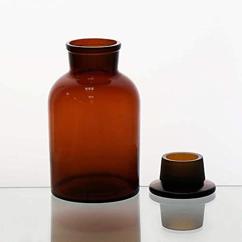 ULAB Scientific Reagenzflaschen-Set, Wide Mouth & Narrow Mouth Flasche, mit eingefasstem Glas Frosted Stopper, URB1024, Füllmenge: 250 ml, Braunglas, weite Öffnung, bernsteinfarben