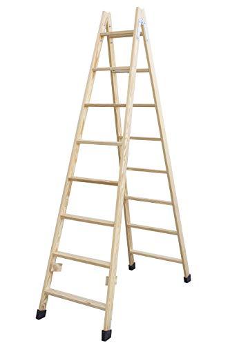 Escalera de tijera de madera con peldaño ancho de 54 mm. Fabricada en pino marítimo sin barnizar. (8 peldaños)
