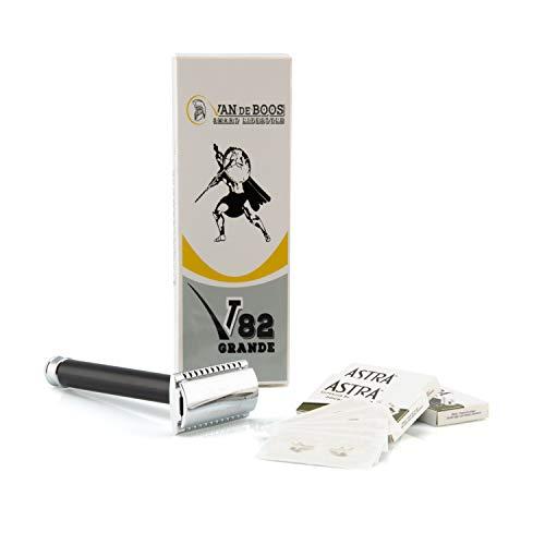 VAN DE BOOS Premium Rasierhobel GRANDE inkl. 20 Astra Rasierklingen, scharfer Nassrasierer mit 2-seitigem Klingenkopf & 3-teiligem System mit geschlossenem Kamm