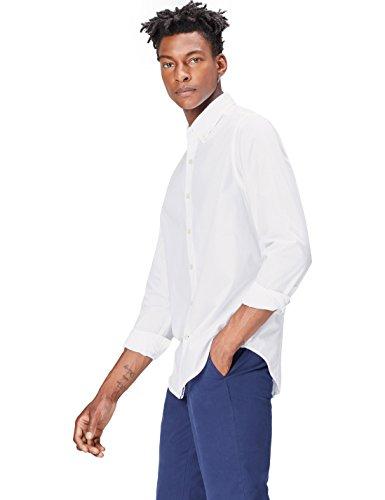 FIND Camisa Casual de Algodón con Corte Estándar para Hombre, Blanco (White),...