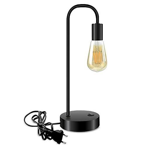 Luxvista E27 Lámpara de Mesa Industrial Vintage Negra, Luz de Escritorio Curvas de Metal con 3 Modos de Luz Ajustable, con Bombilla E27 8W Luz Cálida 2700K (EU Enchufe, Cable 1.3M)