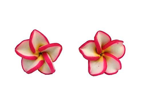 Miniblings flor pendientes rojos 3d blanca pendientes de jardín de flores de Kawaii 15mm - hechos a mano pendientes de joyería de moda pendientes conecto
