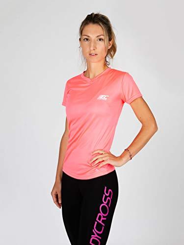 BODYCROSS Maillot Manches Courtes Col V Femme Paz Rose Running, Jogging, Training - Léger, Respirant, Anti-Bactéries et Anti-Odeurs