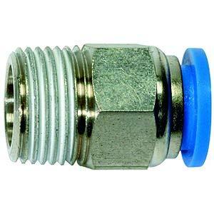 Raccord droit « Serie bleue » - R 3/8 A - Pour tuyau de diamètre extérieur de 14 mm - Pression de travail max. 15 bar - Plastique/laiton.