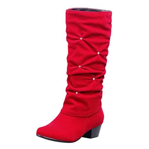 MOTOCO Frauen Low Heel Mid-Leg Stiefel Damen Wildleder Slip-On Flock Round Toe Freizeitschuhe rutschfeste Stiefel(36 EU,Rot)