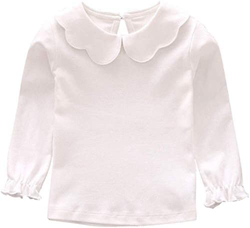 Baby Girl Kids Blouses Long Sleeves Solid Color Doll Collar T Shirt Top Bottom White 4 5T product image
