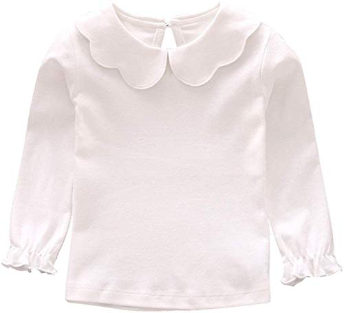 Baby Girl Kids Blouses Long Sleeves Solid Color Doll Collar T-Shirt Top Bottom (White, 6-12M)