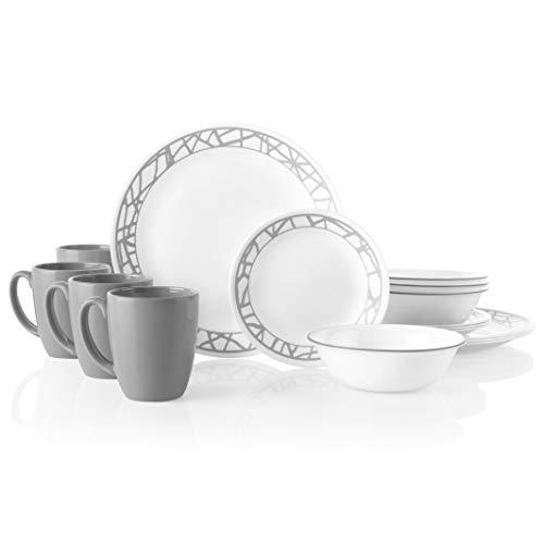 Service for 4 Corelle City Block Chip /& Break Resistant 12pc Dinner Set 12-Piece Black
