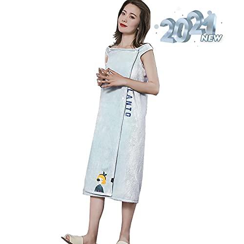 LISI Mujeres Albornoz Toalla de Baño Abrigo Usable Absorbente de Agua Falda de baño Cómodo y Suave Vellón de Coral para Sauna SPA Ducha
