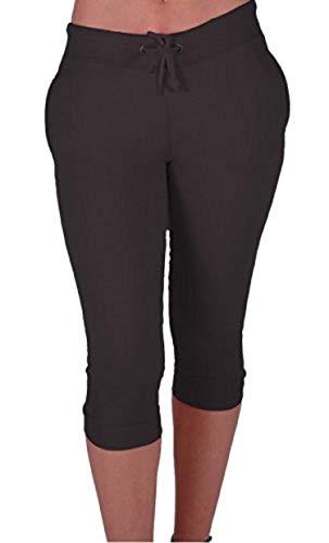 Eyecatch Vela Ladies Capri Crop Jogger Pants Gym Bottoms Womens 34 Cropped Trousers Black Medium