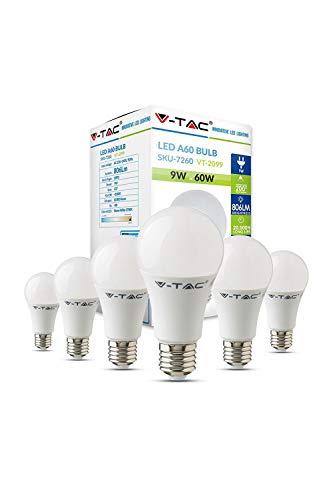Bombilla LED A60 V-TAC 9W ahorro de energía 60W equivalente E27 ES Base de rosca Edison 2700K blanco cálido no regulable [Clase energética A +] - Paquete de 6