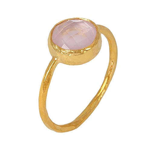 Sarah Bosman Ring Damen Gold Rosenquarz - Damenring Silber Vergoldet Eingefasster rosa Edelstein - 9 mm Durchmesser - Größe 56 - SAB-R02ROSQUAg-56