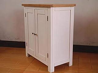 Armario de 2 puertas 100% de roble pintado en color blanco pequeño armario de almacenamiento 66 x 35 x 76 cm.