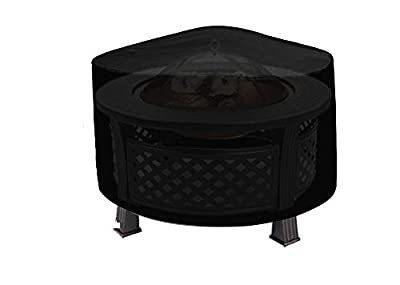 SIRUITON Patio Round Fire Pit/Table/Bowl Cover Outdoor Waterproof Breathable Oxford Polyester Furniture Protective Cover -18 Month Warranty (44x24in) by SIRUITON