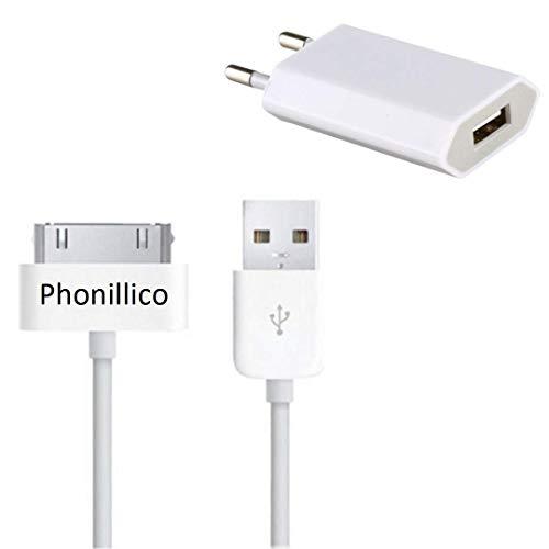 PHONILLICO Cable USB + Chargeur Secteur Blanc Compatible avec IPHONE 4 / 4S / 3G / 3GS - Cable Mesure 1 Metre Chargeur Prise Murale