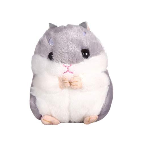 TOYANDONA Kawaii Hamster-Schlüsselanhänger, weicher Plüsch, Cartoon, kleiner Hamster, Schlüsselanhänger, Stofftier (grau)