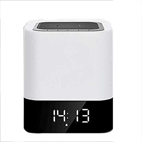 Laytte Alarma con Reloj De Alarma Recargable USB Luz Nocturna Luz De Bluetooth Sensor Táctil Lámpara De Cama Soporte De Noche TF Tarjeta Player Mejor Fiesta De Regalos para Niños